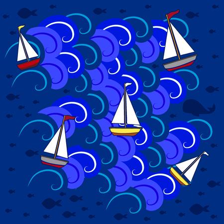 Boats in the sea 5 Ilustrace