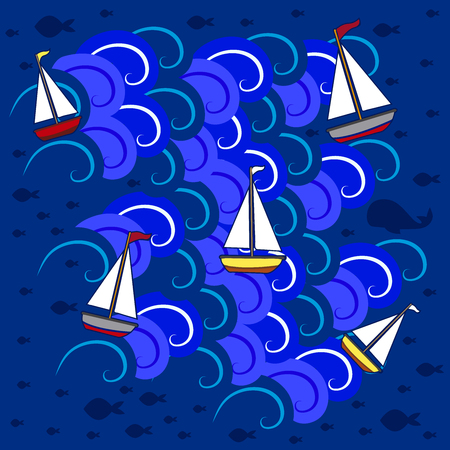 Boats in the sea 5 Illustration