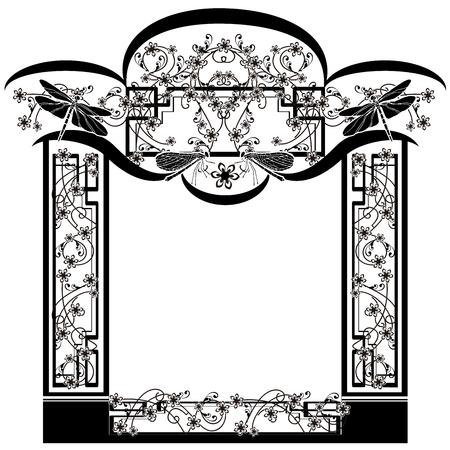 design element flourishes dragonflies frame