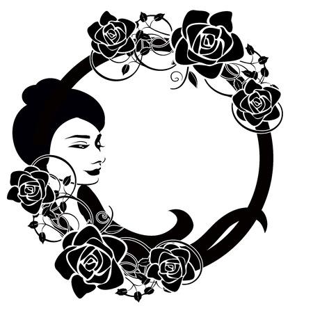 design element girl flourishes frame