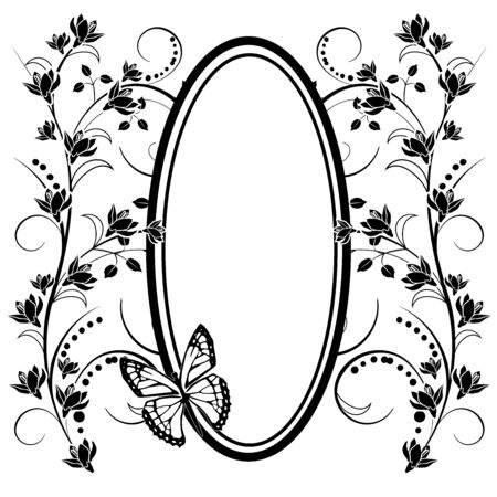 graphic element flowers, butterfly and frame
