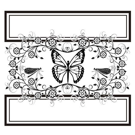 graphic element butterfly, dragonflies flourishes Ilustrace
