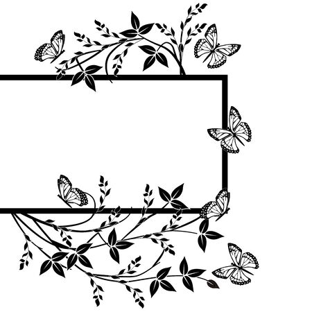 frame flourishes butterflies vintage