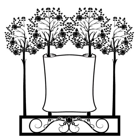graphic element trees and flag Illustration
