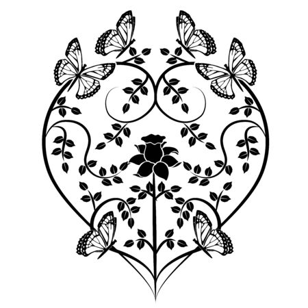 graphic element heart with butterflies Illustration