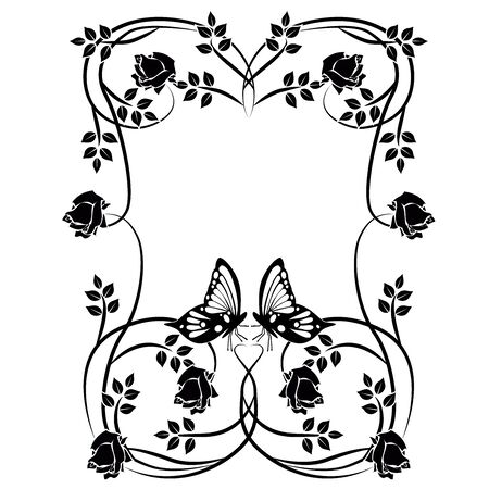 graphic element flowers, butterflies and frame