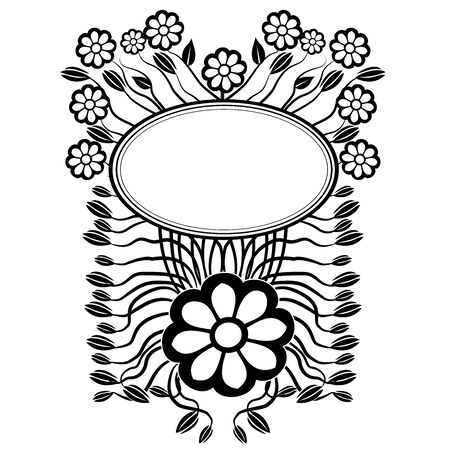 graphic element flowers and frame 4 Ilustrace
