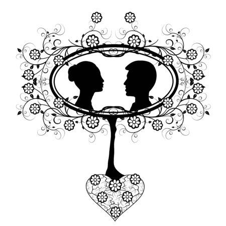 design element wedding heart flourishes Illustration
