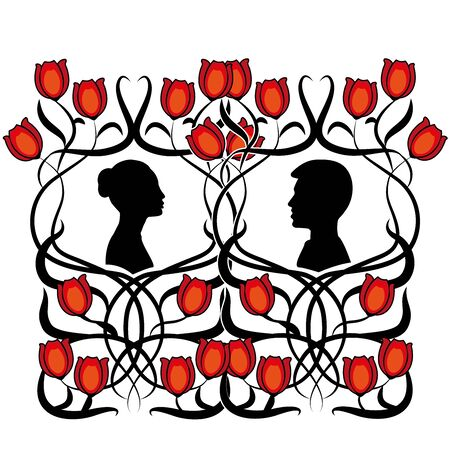couple of man and woman with flowers Illustration