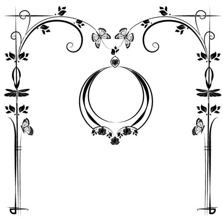 graphic element frame and flowers 3