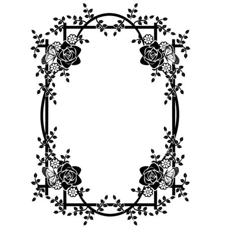graphic element frame and flowers 2