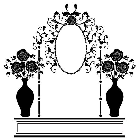 graphic element frame and flowers 1 Illustration