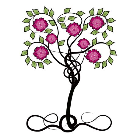 tree with flowers and flourishes