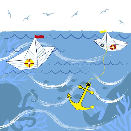 paper boats in the sea 스톡 콘텐츠 - 132054045