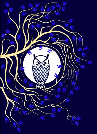 owl with tree and moon
