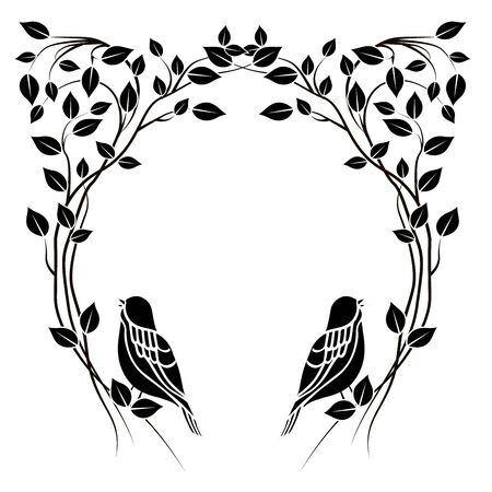 graphic element frame flourishes and bird