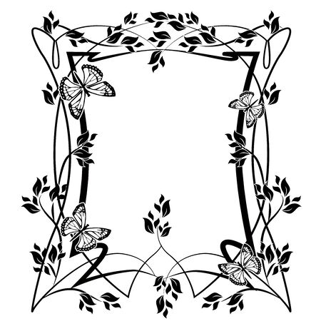 graphic element frame and flowers butterflies 2 Illustration