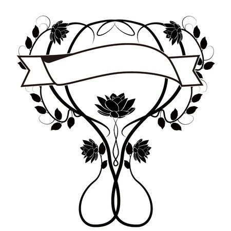graphic element flourishes flowers border 일러스트