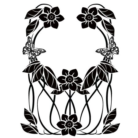 graphic element flourishes flowers frame 2