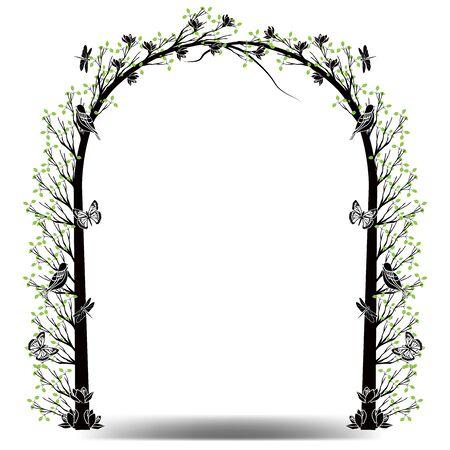 graphic element tree frame gateway Illustration