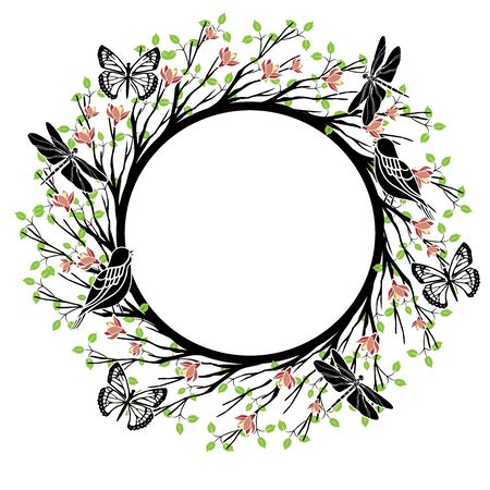 graphic element tree round frame