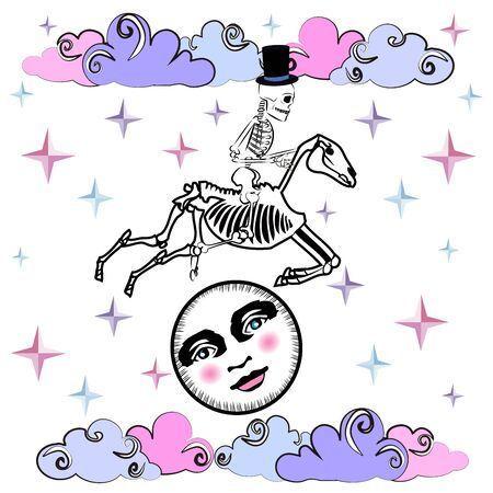 skull, horse and moon