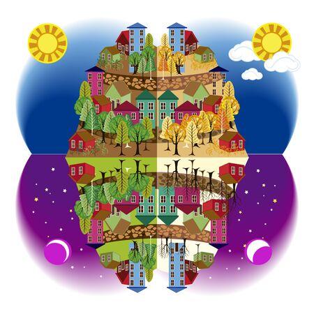 city in four seasons Illustration