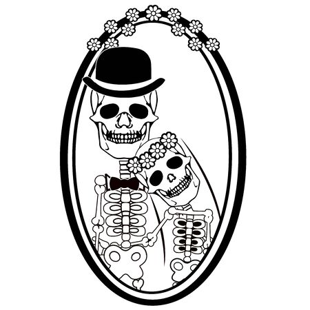day of the dead skulls wedding 일러스트