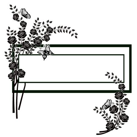 graphic element flourishes flowers butterflies 2 Ilustrace