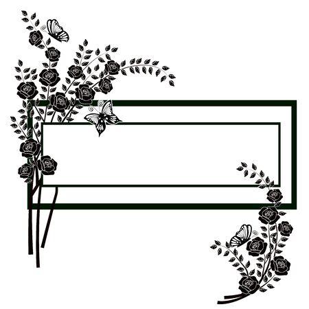 graphic element flourishes flowers butterflies 2 Illustration