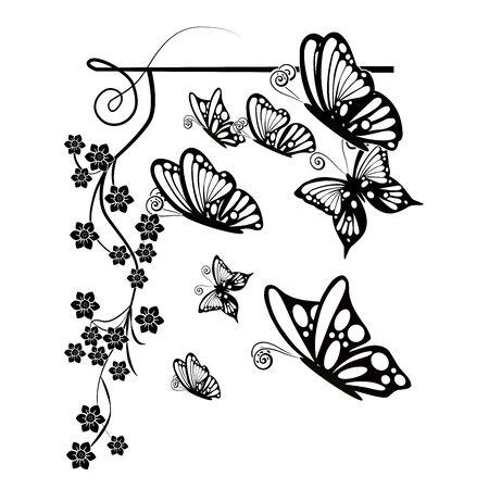 graphic element flourishes flowers butterflies