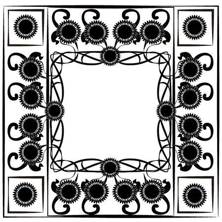 graphic element flourishes flowers frame 4