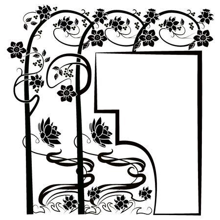 graphic element flourishes tree flowers frame