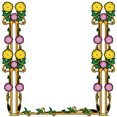 graphic element flourishes flowers frame vintage 2
