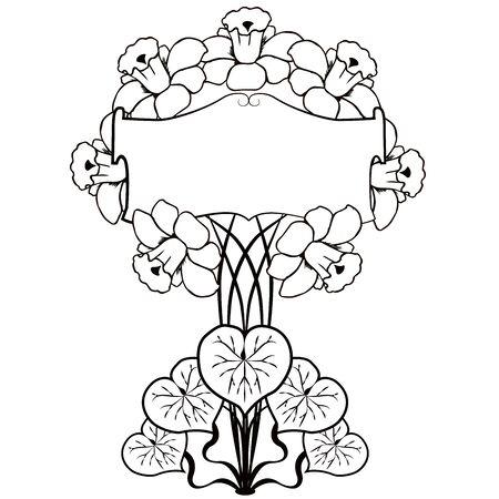 graphic element flourishes flowers vintage Illustration