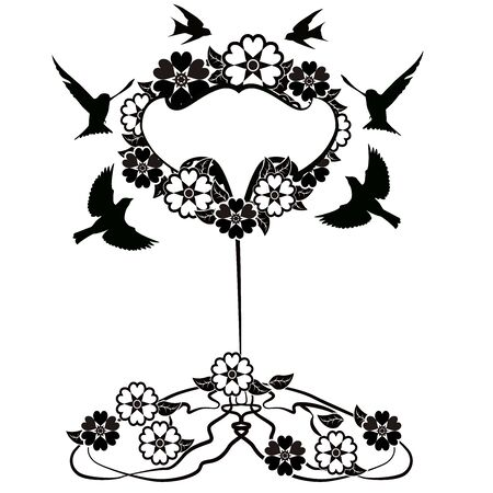 graphic element flourishes tree flowers frame 2 일러스트