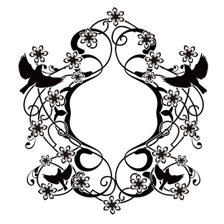 graphic element flourishes flowers and birds 2