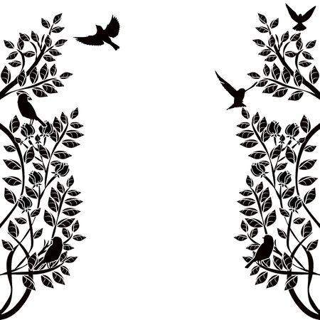 graphic element flourishes flowers and birds 3