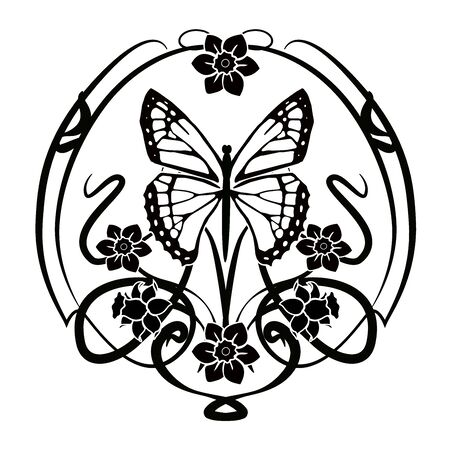 graphic element flourishes flowers, butterfly 2