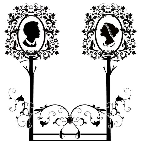 wedding silhouette with tree flourishes Archivio Fotografico - 134483833