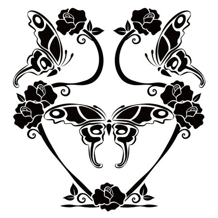 graphic element flourishes and butterflies