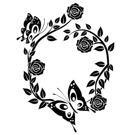 graphic element flourishes flowers, butterfly 3