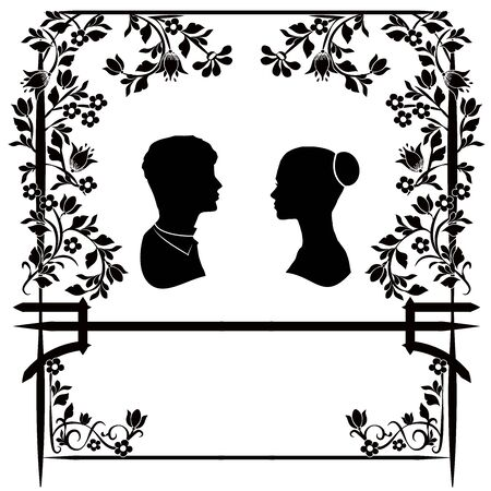wedding silhouette with flowers 2