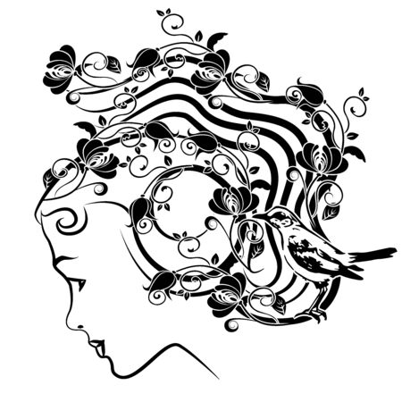 graphic element woman with flourishes 3