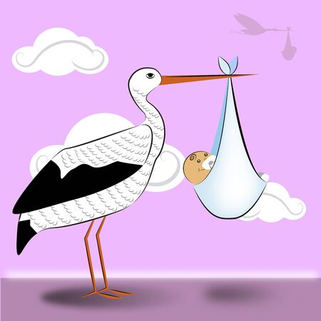 stork flying with baby 4 일러스트