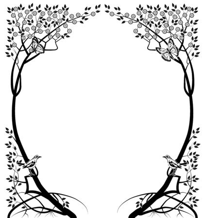 design element frame vintage trees