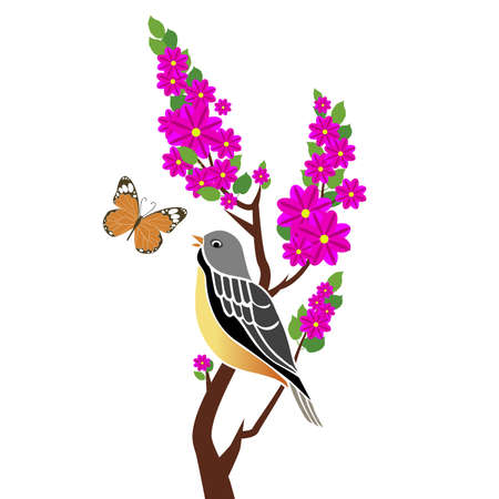 illustration of bird with butterfly on tree branch