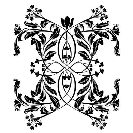 Vector of ornate design in black and white