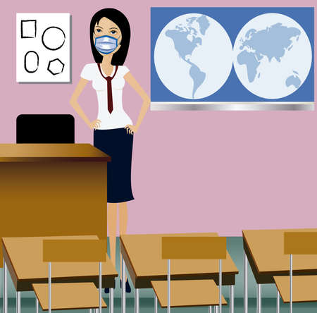 Vector of a teacher wearing mask in the classroom