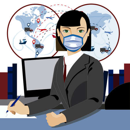 Working in the office wearing protective mask